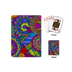 Pop Art Paisley Flowers Ornaments Multicolored Playing Cards (mini)  by EDDArt