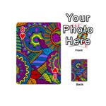 Pop Art Paisley Flowers Ornaments Multicolored Playing Cards 54 (Mini)  Front - Heart8