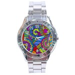 Pop Art Paisley Flowers Ornaments Multicolored Stainless Steel Analogue Watch