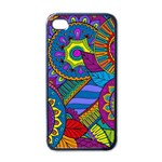 Pop Art Paisley Flowers Ornaments Multicolored Apple iPhone 4 Case (Black)