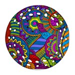 Pop Art Paisley Flowers Ornaments Multicolored Ornament (Round Filigree)