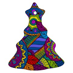 Pop Art Paisley Flowers Ornaments Multicolored Ornament (Christmas Tree)