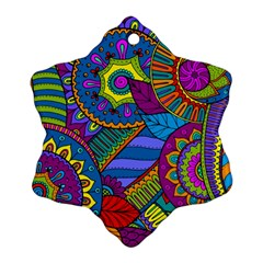 Pop Art Paisley Flowers Ornaments Multicolored Snowflake Ornament (2 Side)