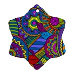 Pop Art Paisley Flowers Ornaments Multicolored Snowflake Ornament (2-Side) Back