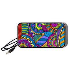 Pop Art Paisley Flowers Ornaments Multicolored Portable Speaker (black)  by EDDArt