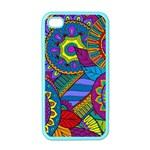 Pop Art Paisley Flowers Ornaments Multicolored Apple iPhone 4 Case (Color)