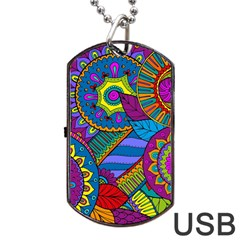 Pop Art Paisley Flowers Ornaments Multicolored Dog Tag Usb Flash (one Side) by EDDArt