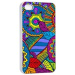 Pop Art Paisley Flowers Ornaments Multicolored Apple iPhone 4/4s Seamless Case (White) Front