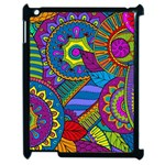 Pop Art Paisley Flowers Ornaments Multicolored Apple iPad 2 Case (Black)