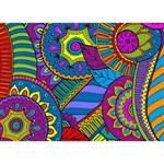 Pop Art Paisley Flowers Ornaments Multicolored Circle Bottom 3D Greeting Card (7x5) Front
