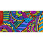 Pop Art Paisley Flowers Ornaments Multicolored Happy New Year 3D Greeting Card (8x4) Front
