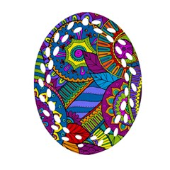 Pop Art Paisley Flowers Ornaments Multicolored Ornament (oval Filigree)  by EDDArt