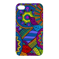 Pop Art Paisley Flowers Ornaments Multicolored Apple Iphone 4/4s Premium Hardshell Case by EDDArt