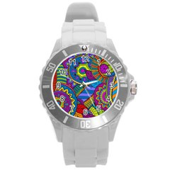 Pop Art Paisley Flowers Ornaments Multicolored Round Plastic Sport Watch (l) by EDDArt