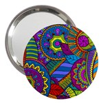 Pop Art Paisley Flowers Ornaments Multicolored 3  Handbag Mirrors
