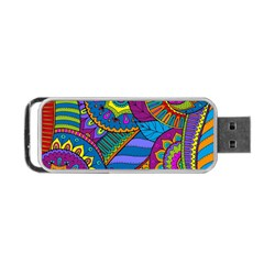Pop Art Paisley Flowers Ornaments Multicolored Portable Usb Flash (two Sides) by EDDArt