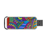 Pop Art Paisley Flowers Ornaments Multicolored Portable USB Flash (Two Sides) Back