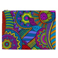 Pop Art Paisley Flowers Ornaments Multicolored Cosmetic Bag (xxl)