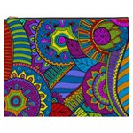 Pop Art Paisley Flowers Ornaments Multicolored Cosmetic Bag (XXXL)