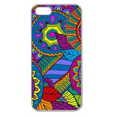 Pop Art Paisley Flowers Ornaments Multicolored Apple Seamless Iphone 5 Case (clear) by EDDArt