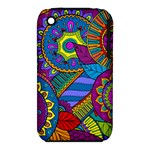 Pop Art Paisley Flowers Ornaments Multicolored Apple iPhone 3G/3GS Hardshell Case (PC+Silicone)