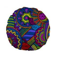 Pop Art Paisley Flowers Ornaments Multicolored Standard 15  Premium Round Cushions by EDDArt