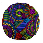 Pop Art Paisley Flowers Ornaments Multicolored Large 18  Premium Round Cushions