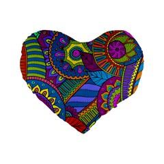 Pop Art Paisley Flowers Ornaments Multicolored Standard 16  Premium Heart Shape Cushions