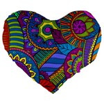 Pop Art Paisley Flowers Ornaments Multicolored Large 19  Premium Heart Shape Cushions