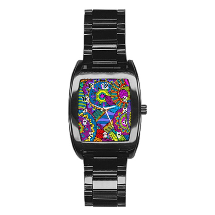 Pop Art Paisley Flowers Ornaments Multicolored Stainless Steel Barrel Watch