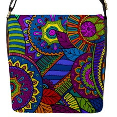Pop Art Paisley Flowers Ornaments Multicolored Flap Messenger Bag (s) by EDDArt
