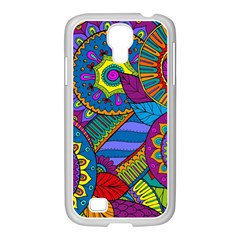 Pop Art Paisley Flowers Ornaments Multicolored Samsung Galaxy S4 I9500/ I9505 Case (white)