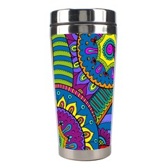 Pop Art Paisley Flowers Ornaments Multicolored Stainless Steel Travel Tumblers by EDDArt