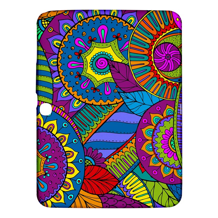 Pop Art Paisley Flowers Ornaments Multicolored Samsung Galaxy Tab 3 (10.1 ) P5200 Hardshell Case
