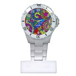 Pop Art Paisley Flowers Ornaments Multicolored Plastic Nurses Watch