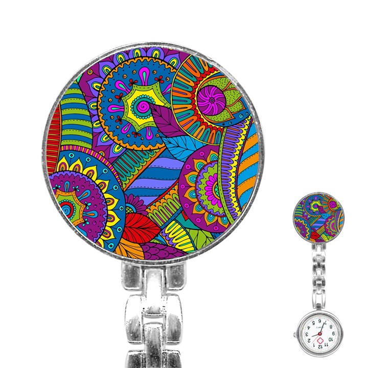 Pop Art Paisley Flowers Ornaments Multicolored Stainless Steel Nurses Watch