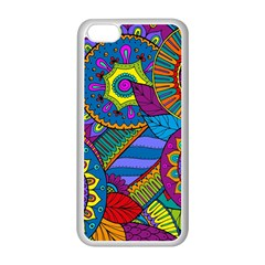Pop Art Paisley Flowers Ornaments Multicolored Apple Iphone 5c Seamless Case (white) by EDDArt