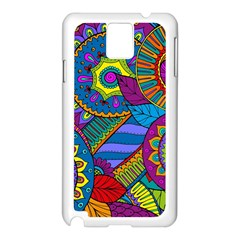 Pop Art Paisley Flowers Ornaments Multicolored Samsung Galaxy Note 3 N9005 Case (white)