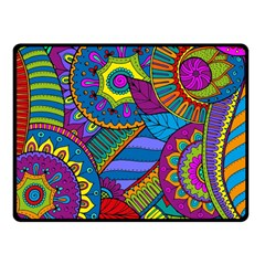 Pop Art Paisley Flowers Ornaments Multicolored Double Sided Fleece Blanket (Small)