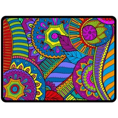 Pop Art Paisley Flowers Ornaments Multicolored Double Sided Fleece Blanket (Large)