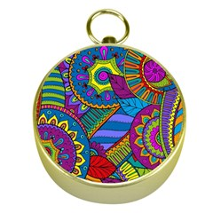 Pop Art Paisley Flowers Ornaments Multicolored Gold Compasses by EDDArt