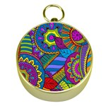 Pop Art Paisley Flowers Ornaments Multicolored Gold Compasses