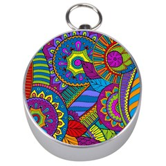 Pop Art Paisley Flowers Ornaments Multicolored Silver Compasses