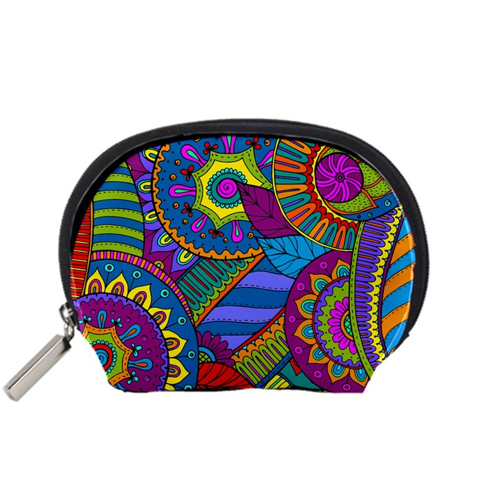 Pop Art Paisley Flowers Ornaments Multicolored Accessory Pouches (Small)