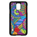 Pop Art Paisley Flowers Ornaments Multicolored Samsung Galaxy S5 Case (Black)