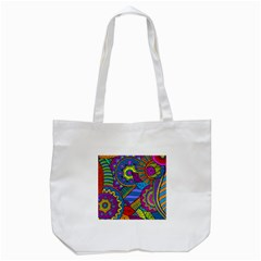 Pop Art Paisley Flowers Ornaments Multicolored Tote Bag (white) by EDDArt