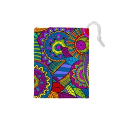Pop Art Paisley Flowers Ornaments Multicolored Drawstring Pouches (Small)