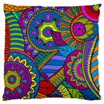 Pop Art Paisley Flowers Ornaments Multicolored Large Flano Cushion Case (One Side)
