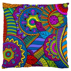 Pop Art Paisley Flowers Ornaments Multicolored Large Flano Cushion Case (two Sides) by EDDArt