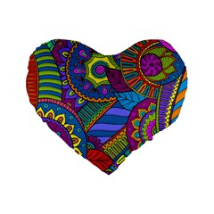 Pop Art Paisley Flowers Ornaments Multicolored Standard 16  Premium Flano Heart Shape Cushions